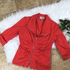 WOW! Joseph Ribkoff Red Blazer double ZIP Jacket